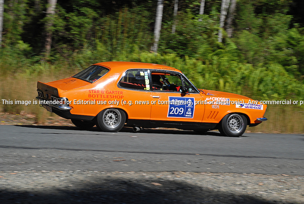 209 Mick Cross & Leigh Chaplin.1972 Holden Torana XU1.Day 1.Targa Wrest Point 2010.Southern Tasmania.30th of January 2010.(C) Sarah Biggin.Use information: This image is intended for Editorial use only (e.g. news or commentary, print or electronic). Any commercial or promotional use requires additional clearance.