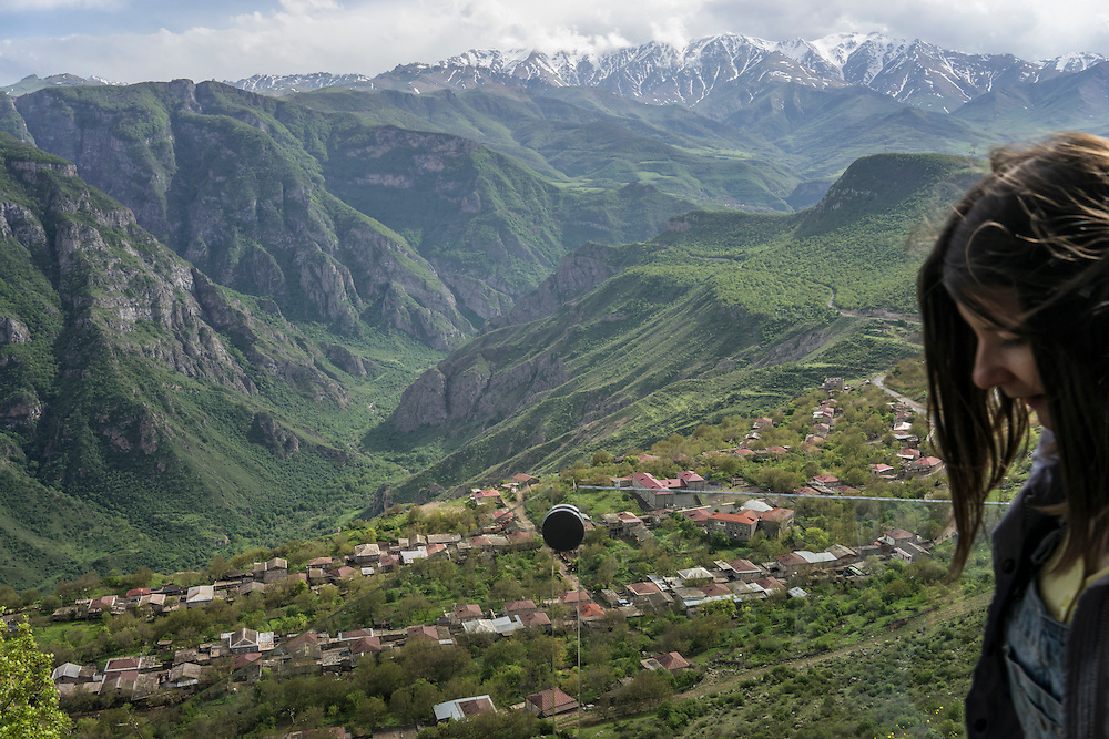 A view over the town at the starting point for the Wings of Tatev aerial tramway on Saturday, May 7, 2016 in Halidzor, Armenia.