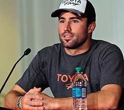 LONG BEACH, CA - APR 14: Actor and model  Brody Jennerat press conference after a crash during the 2012 Toyota Celebrity/PRO Race in Long Beach, CA. All fees must be ageed prior to publication,.Byline and/or web usage link must  read PHOTO: Eduardo E. Silva/SILVEX.PHOTOSHELTER.COM