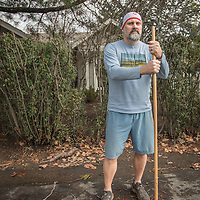 """I think its important to get out and elevate the heart rate.""  -Winery sales and hospitality employee John DeGregory cleans up post-storm debris in front of his home on Oak Street in Calistoga."