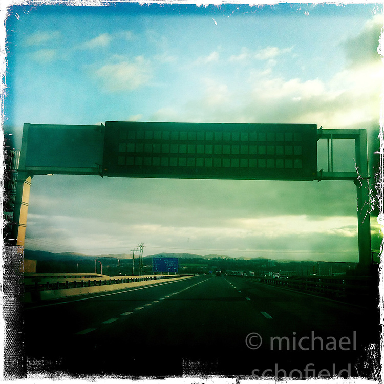 A8 motorway..Hipstamatic images taken on an Apple iPhone..©Michael Schofield.
