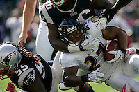 Baltimore Ravens running back Ray Rice is tackled by New England Patriots linebacker Jermaine Cunningham on a carry in the second quarter at Gillette Stadium in Foxboro, Massachusetts on October 17, 2010.  The Patriots defeated the Ravens 23-20 in overtime.  UPI/Matthew Healey