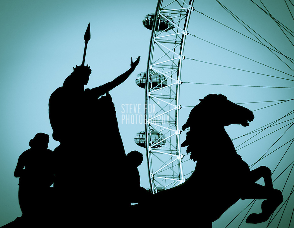 Boudica Statue in front of London Eye, London, England