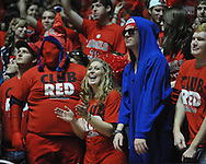 "Ole Miss fans cheer vs. Arkansas at the C.M. ""Tad"" Smith Coliseum in Oxford, Miss. on Saturday, January 19, 2013. Mississippi won 76-64. (AP Photo/Oxford Eagle, Bruce Newman)"