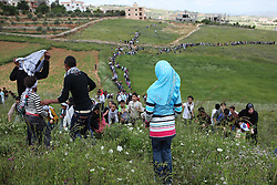 In Maroun al-Ras, the village where the protest was held, buses couldn't reach the top so protesters, young and old, were forced to walk up the mountain to reach the protest site.