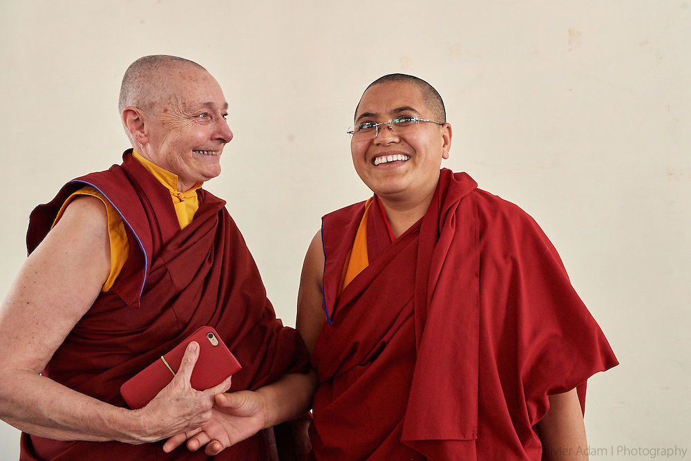 Jetsunma Tenzin Palmo with Tenzin Lhadron one of the Geshemas