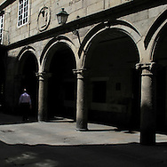 Santiago de Compostela, Galicia . Spain . The WAY OF SAINT JAMES or CAMINO DE SANTIAGO following the French Route, between Saint Jean Pied de Port and Santiago de Compostela in Galicia, SPAIN. Tradition says that the body and head of St. James, after his execution circa. 44 AD, was taken by boat from Jerusalem to Santiago de Compostela. The Cathedral built to keep the remains has long been regarded as important as Rome and Jerusalem in terms of Christian religious significance, a site worthy to be a pilgrimage destination for over a thousand years. In addition to people undertaking a religious pilgrimage, there are many travellers and hikers who nowadays walk the route for non-religious reasons: travel, sport, or simply the challenge of weeks of walking in a foreign land. In Spain there are many different paths to reach Santiago. The three main ones are the French, the Silver and the Coastal or Northern Way. The pilgrimage was named one of UNESCO's World Heritage Sites in 1993. When there is a Holy Compostellan Year (whenever July 25 falls on a Sunday; the next will be 2010) the Galician government's Xacobeo tourism campaign is unleashed once more. Last Compostellan year was 2004 and the number of pilgrims increased to almost 200.000 people.