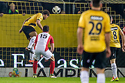 BREDA - NAC - FC Emmen , Voetbal , Jupiler League , Seizoen 2016/2017 , Rat Verlegh Stadion , 16-12-2016 , NAC speler Cyriel Dessers (l) kopt de bal binnen en scoort de 1-0