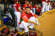 SAN JUAN, PUERTO RICO FEBRUARY 3: A player for Mexico sits at the edge of the dugout during the game against Puerto Rico on February 3, 2015 in San Juan, Puerto Rico at Hiram Bithorn Stadium(Photo by Jean Fruth)