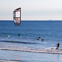 USA, California, San Diego. Kite Surfer at Pacific Beach.