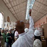 Mayor Adrian Fenty inspects the process of the Eastern Market's renovation.