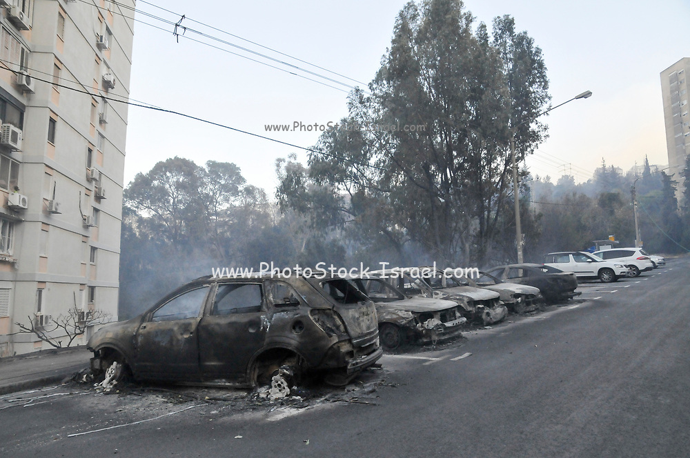burnt cars during the wildfire in the city of Haifa, Israel in November 2016