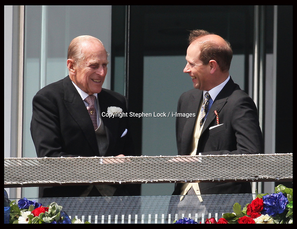 Duke of Edinburgh with Prince  Edward  at  the Epsom Derby, Saturday, 2nd June 2012.  Photo by: Stephen Lock / i-Images