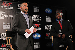 Atlanta, GA - April 18, 2012:  The UFC's Jon Anik (l) and Rashad Evans (r) during the final press conference for UFC 145 at the Park Tavern in Atlanta, Georgia.