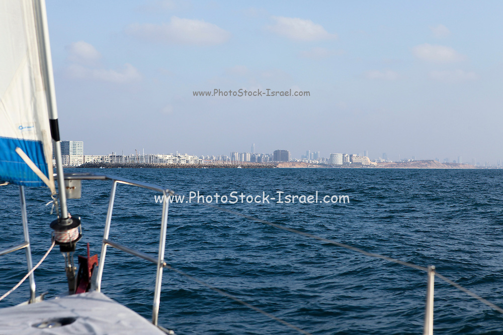 Israel, Herzliya, As seen from west from the Mediterranean sea