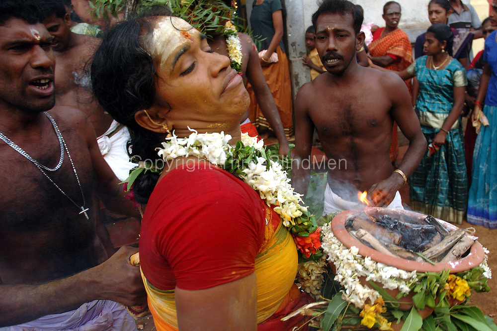 Udappuwa festival. The village, men and women, gather at the Mariamman Kovil in the north of the village. Here they bathe at the well, fall into a deep trance, dance kavadi, then move south to the main Vishnu Kovil, stopping at the small Kataragama shrine on the way...The trance is very strong, they often have to be restrained by family & friends, screaming as this is done.