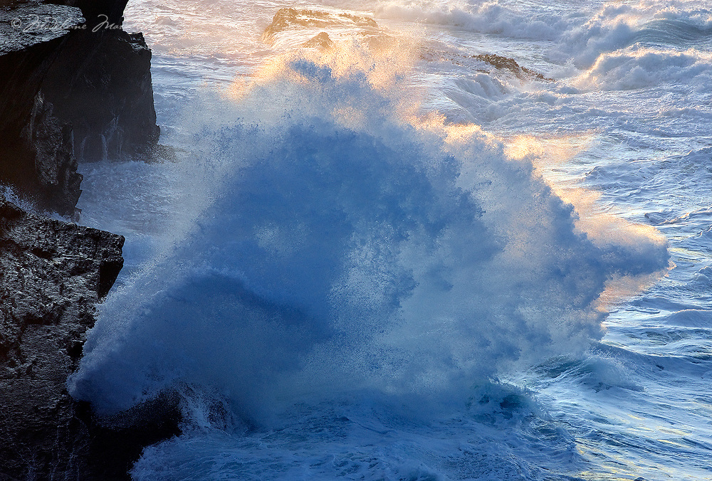 Golden Sunbeam and Waves clashing at the Cliffs, Ring of Kerry, Ireland / vl123