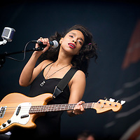 Lianne La Havas performs on the main stage at the Aviemore Stopover festival on August 1, 2015 in Aviemore, Scotland.