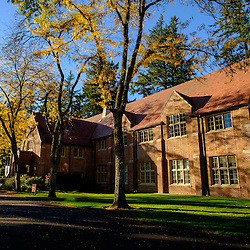 Trees changing color with Xavier Hall behind at PLU, Tuesday, Oct. 11, 2016. (Photo: John Froschauer/PLU)