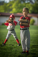 Six year old Keaton Bramham (right)  and J.P Birdwell (left) of the Saint Helena Volcanoes play the Calistoga Cheetahs at Calistoga Elementary School.