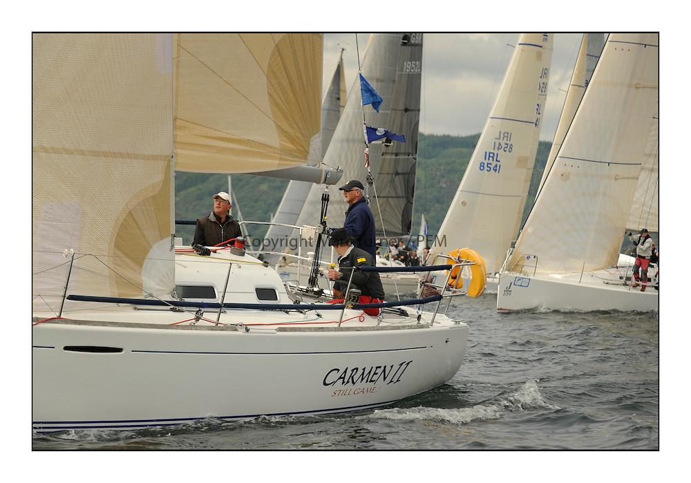 Brewin Dolphin Scottish Series 2012, Tarbert Loch Fyne - Yachting - Day 1 - Bowmore Fleet..IRL1666 ,Carmen II ,Jeffrey/Scutt ,CCC/HSC ,First 36.7