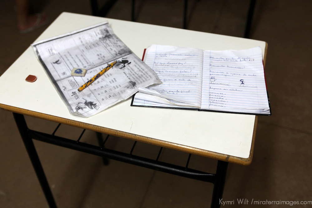South America, Brazil, Pantanal. Desk at the primary school at the Caiman Ecological Refuge.