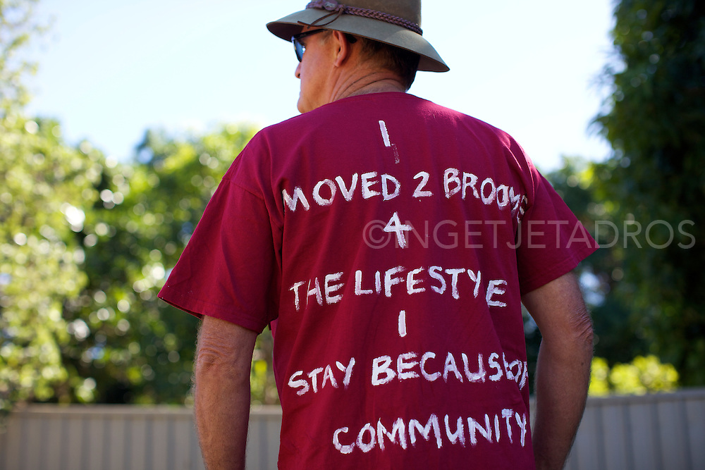 "This retired man moved to Broome WA for the lifestyle, he drew on his t-shirt ""I moved 2 Broome 4 the lifestyle I stay because of the community"" during a Broome family gathering demonstrating against the proposed gas hub at James Price Point."