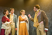 02/02/2012. London, UK.  Bloody Poetry by Howard Brenton at Jermyn Street Theatre. The Shelleys and Claire Clairemont fled from scandal in London to Lake Geneva, where Claire introduced the Shelleys to her lover, Lord Byron. Picture features Joanna Christie as Claire Clairemont, Rhiannon Sommers as Mary Shelley, David Sturzaker as Lord Byron  and Joe Bannister as Percy Bysshe Shelley.