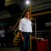 Republican presidential candidate Mitt Romney speaks about small businesses while visiting Middlesex Truck and Coach in Boston Massachusetts on July 19, 2012.     UPI/Matthew Healey