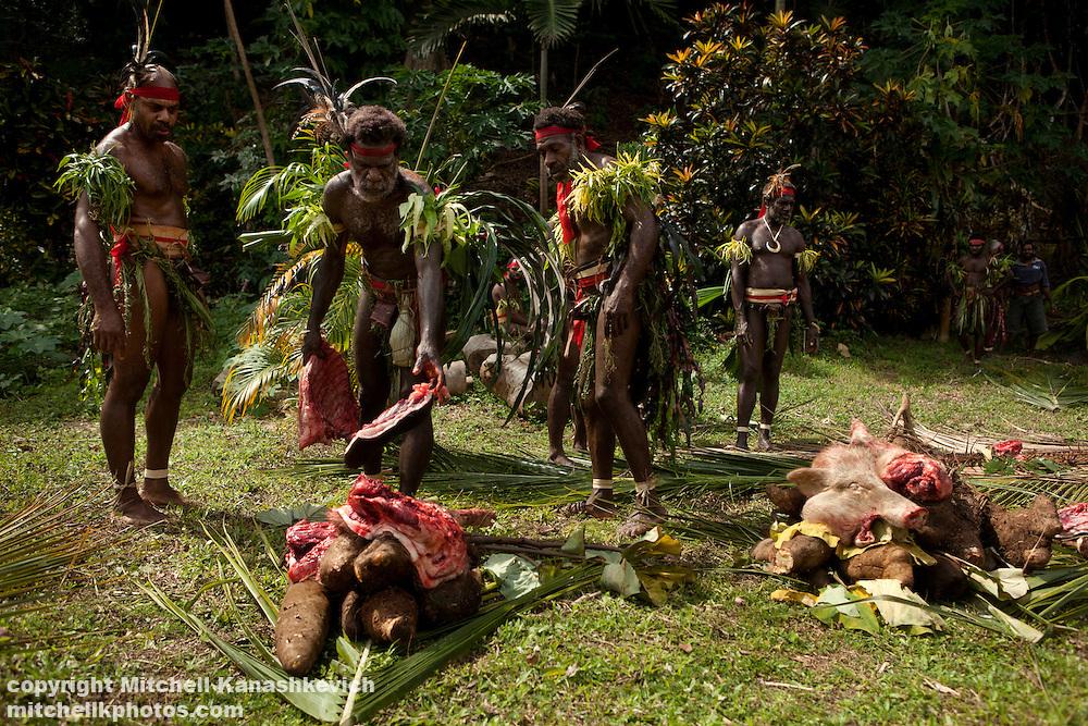 Chiefs dividing pig meat at Nalawan ceremony near village of Labo, South West Bay, Malekula.