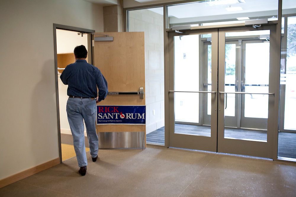 Republican presidential hopeful Rick Santorum arrives at a campaign stop on Friday, August 5, 2011 in Grinnell, IA.