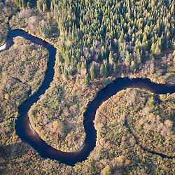 The boggy wetalnds of the Nulhegan River in Ferdinand, Vermont.  Near Island Pond.  Conte National Wildlife Refuge.  Northeast Kingdom. Connecticut River tributary.  Aerial view.