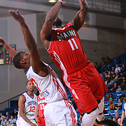Maine Red Claws Guard ANDRE STRINGER (11) drives to the basket as Delaware 87ers Guard JUWAN STATEN (7) defends in the first half of a NBA D-league regular season basketball game between the Delaware 87ers and the Maine Red Claws  Friday, Feb. 05, 2016 at The Bob Carpenter Sports Convocation Center in Newark, DEL.