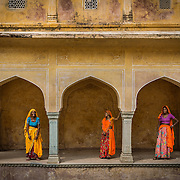 Indian women in the step well at Jaipur, Rajasthan, India.