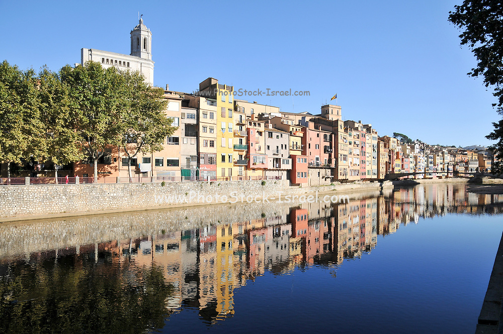 Girona, Historic centre,  Catalonia, Spain with the Church of Sant Feliu in the background