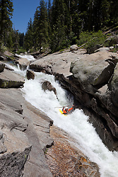 """Kayaker on Silver Creek 10"" - This kayaker was photographed on Silver Creek - South Fork, near Icehouse Reservoir, CA."