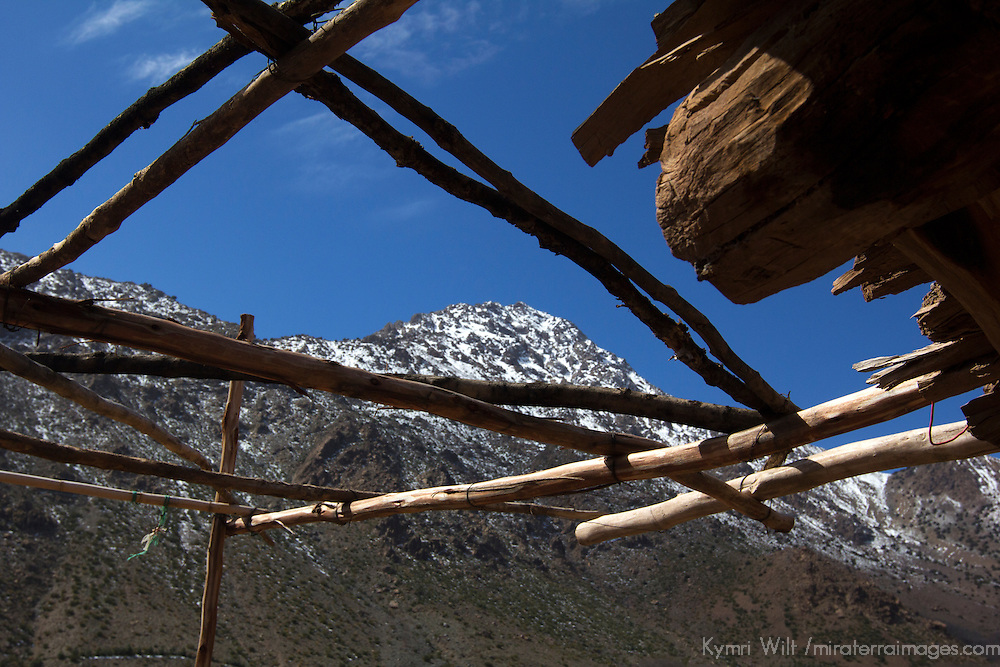 Africa, Morocco, Imlil. Berber Village home terrace in Atlas Mountains.