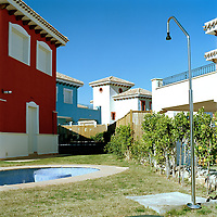 Murcia, Spain. From a story on the explosion of controversial golf resorts in Spain's arid south-east. These walled developments are often built on former farming land when farmers sell their land to the big developers. Most of these new houses are sold to foreign buyers as holiday homes..Photo shows the Polaris World Mar Menor Golf Resort. .Photo©Steve Forrest/Amaya Roman