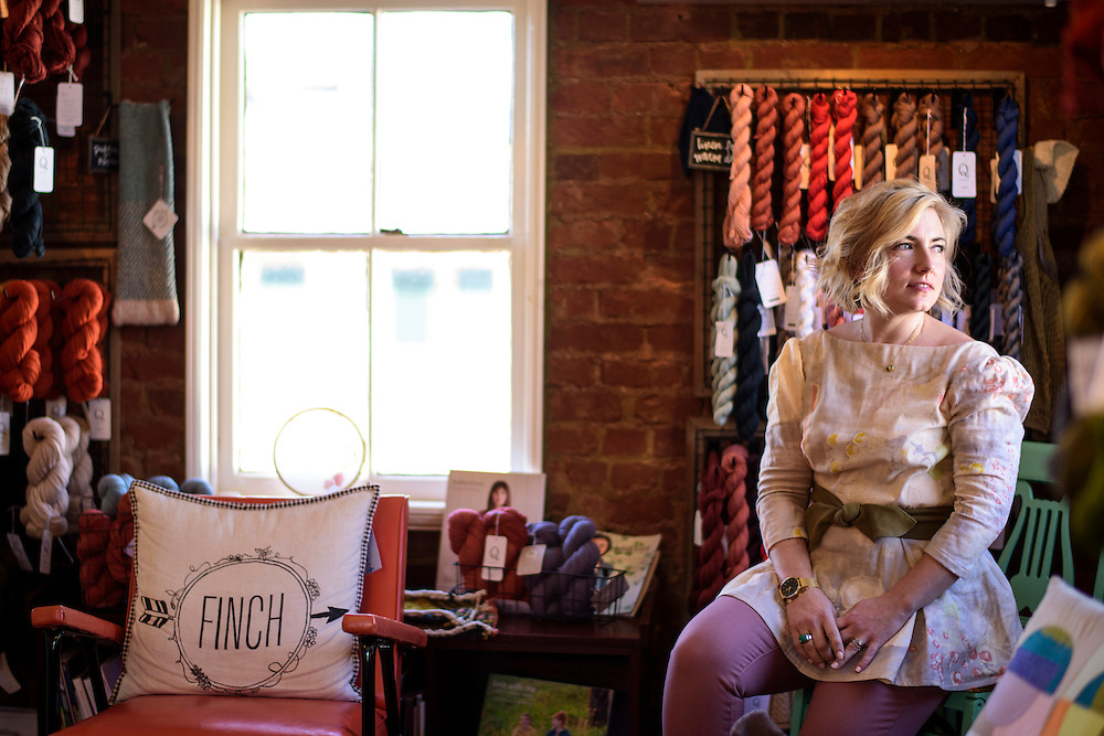 Leesburg, Virginia - February 13, 2017: Nicole Morgenthau, owner of Finch Knitting + Sewing Studio in Leesburg, Va., received a Pro-Trump email threatening a boycott of her store. She posted the note on her store's Facebook page. The response was an outpour of support for Morganthau and an increase in business.<br /> <br /> <br /> CREDIT: Matt Roth for The New York Times<br /> Assignment ID: 30202692A