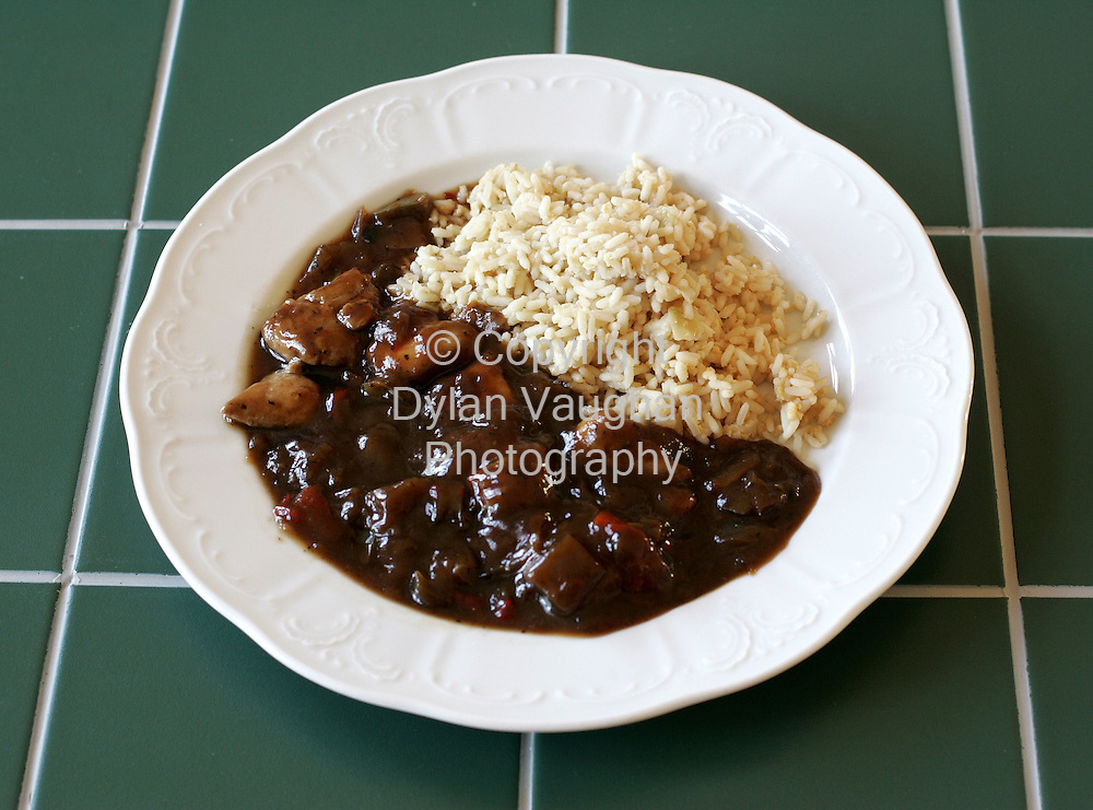 25/9/2004.Eugene McSweeny Food week 73 for Weekender.Main Chicken in black bean sauce and rice..Picture Dylan Vaughan