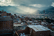 "2015/11/23 - Medellín, Colombia: View of the city of Medellín from the Pablo Escobar neighbourhood. Originally called ""Medellin Sin Tugurios,"" or Medellin Without Shanty Towns, Barrio Pablo Escobar is located high up on the eastern slope of Medellin, where Pablo Escobar built 413 houses, which he gave to poor people that used to live in a mountain of garbage in the Moravia neighbourhood. (Eduardo Leal)"