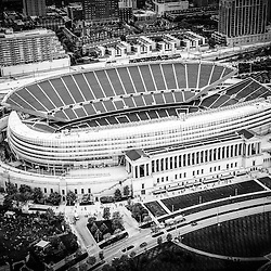 Chicago Soldier Field aerial picture in black and white. High resolution image was taken in 2013 from a helicopter.