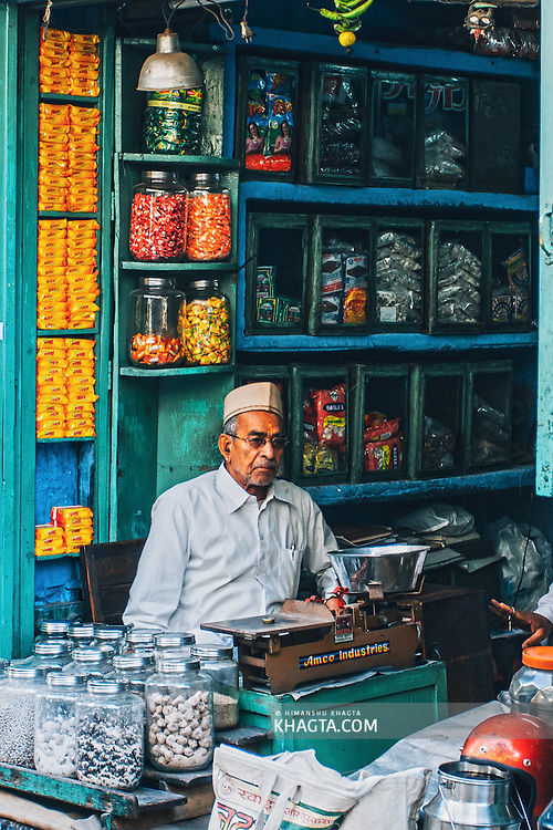 An old man sitting in his candy shop in Jodhpur