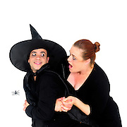 Witches and spider On white Background