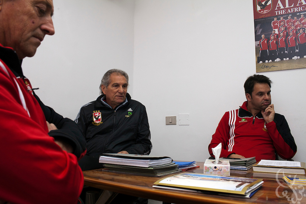 Manuel Jose, (c) the Portuguese Coach of the Egyptian football team Al-Ahly attends a meeting with his assistants and trainers February 17, 2012 in Cairo, Egypt. Jose returned to Egypt Feb 16 to resume his job of coach of Al-Ahly in the wake of post-football match violence February 2nd, 2012 that killed 74 and injured hundreds more in the Port Said, Egypt stadium.  (Photo by Scott Nelson)