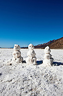 Snowmen on the salt flat of Lake Badwater - Death Valley National Park, California