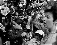 'GovanHell', portrait of a community. Demonstrations and local community action/protest to save the Allison Street swimming pool, Govanhill, Glasgow, Scotland, UK. (Approx Date 2001)
