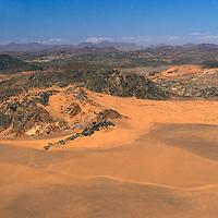 aerial view near Serra Cafema Camp, Wilderness Safaris, Kaokoland, Kunene Region, Namibia
