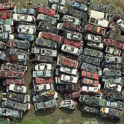 Aerial view: Crushed autos at a scrap metal recycling facility NO PROPERTY RELEASE