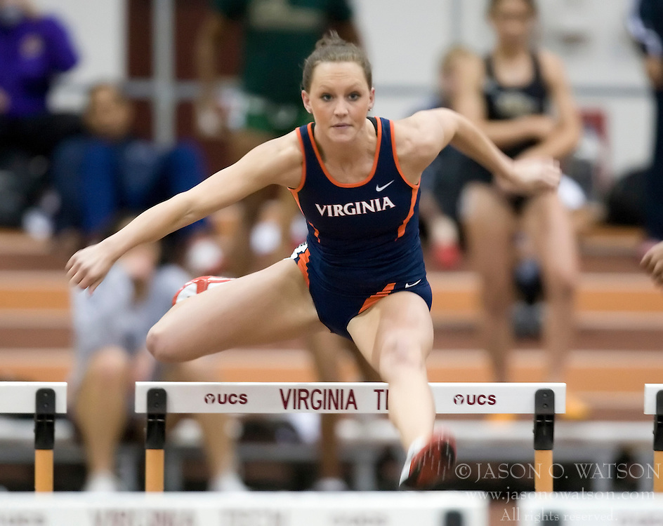 Ayla Smith (Virginia) races in the women's 55m hurdles.  Day 1 of the Virginia Tech Invitational Track and Field meet was held at the Rector Field House on the campus of Virginia Tech in Blacksburg, VA on January 11, 2008.